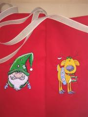 Embroidered bag with Christmas designs
