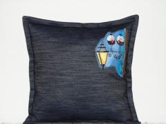 Embroidered cushion with Two birds design