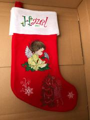 Embroidered sock with Christmas angel embroidery design