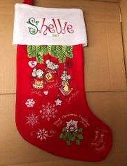 Embroidered sock with Christmas mice design