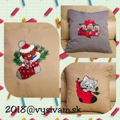 Embroidered work pieces with Christmas designs