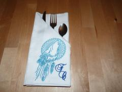 Emroidered napkin with Wolf dreamcatcher design