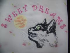 Cat and moon embroidery design