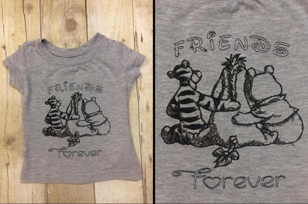 Embroidered t-shirt with Winnie Pooh free design