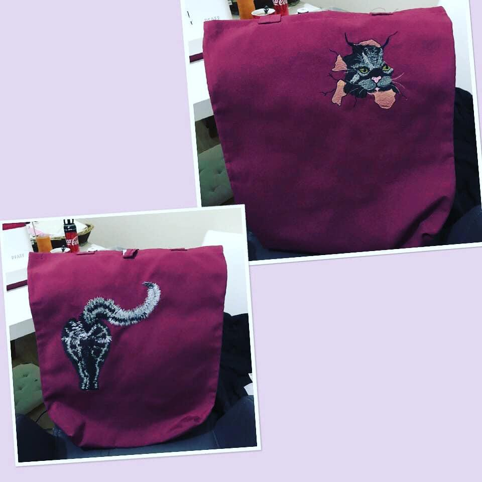 Embroidered bag with Cat designs