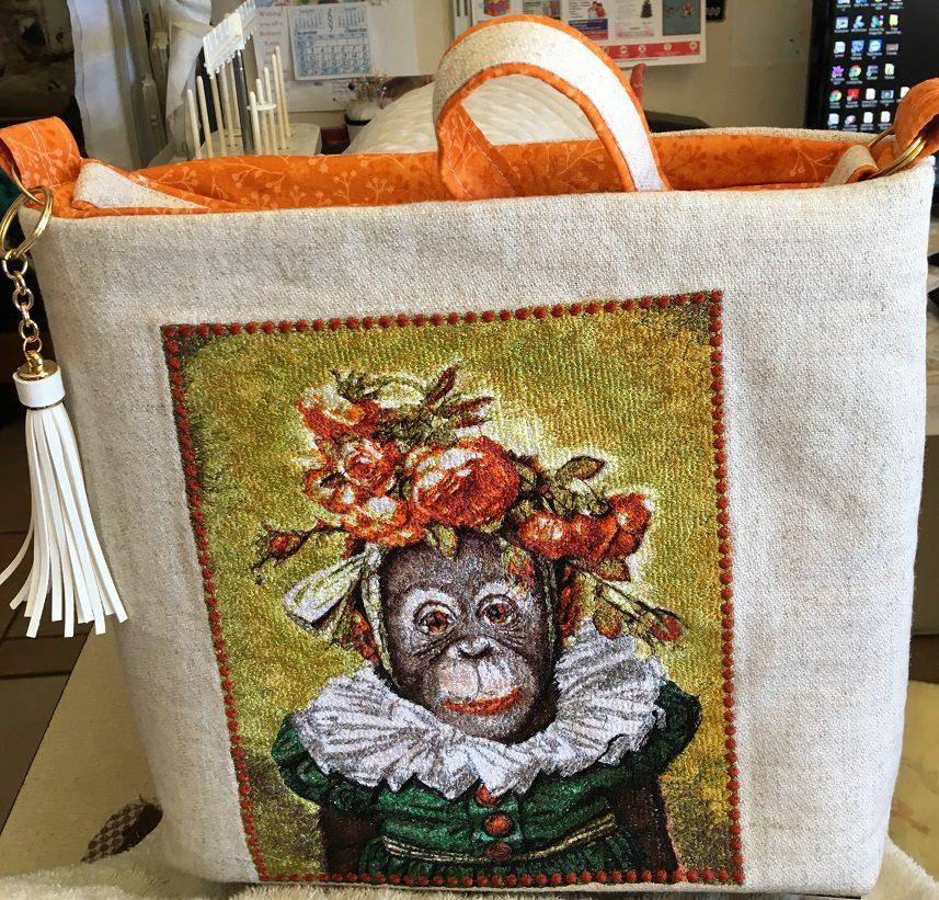 Embroidered bag with Funny monkey design