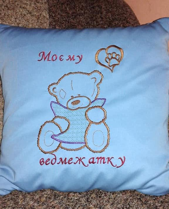Embroidered cushion with Little bear design
