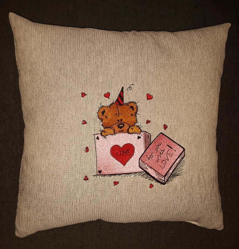 Embroidered cushion with Teddy in box design