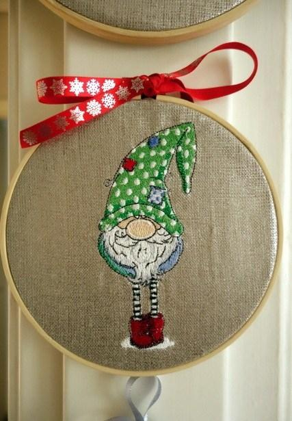Embroidered souvenir with Gnome in polka dot cap design