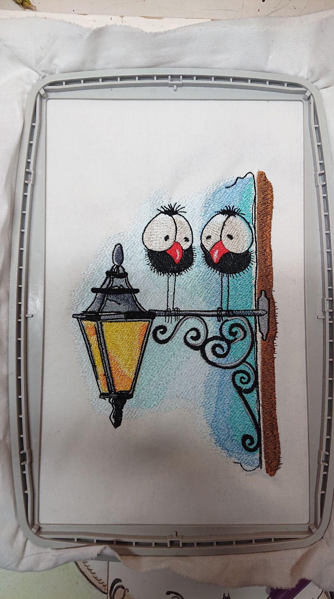 In hoop Meeting on lantern embroidery design
