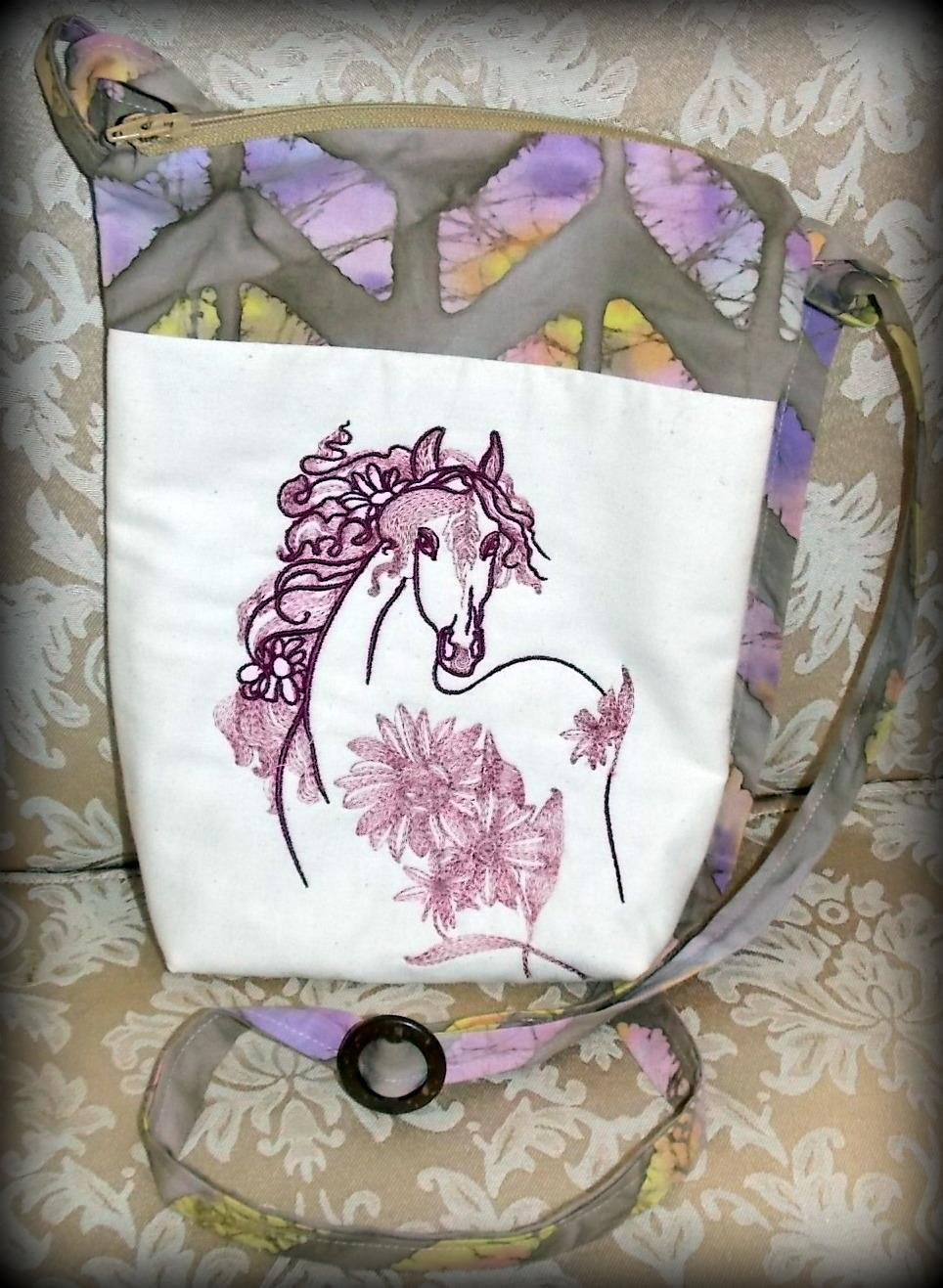Orange horse machine embroidery design