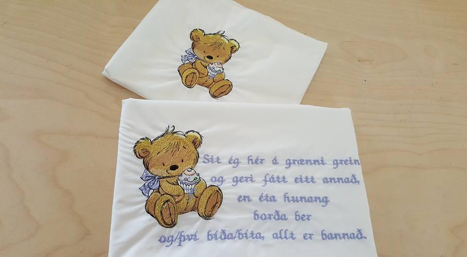 Embroidered greeting card Teddy bear