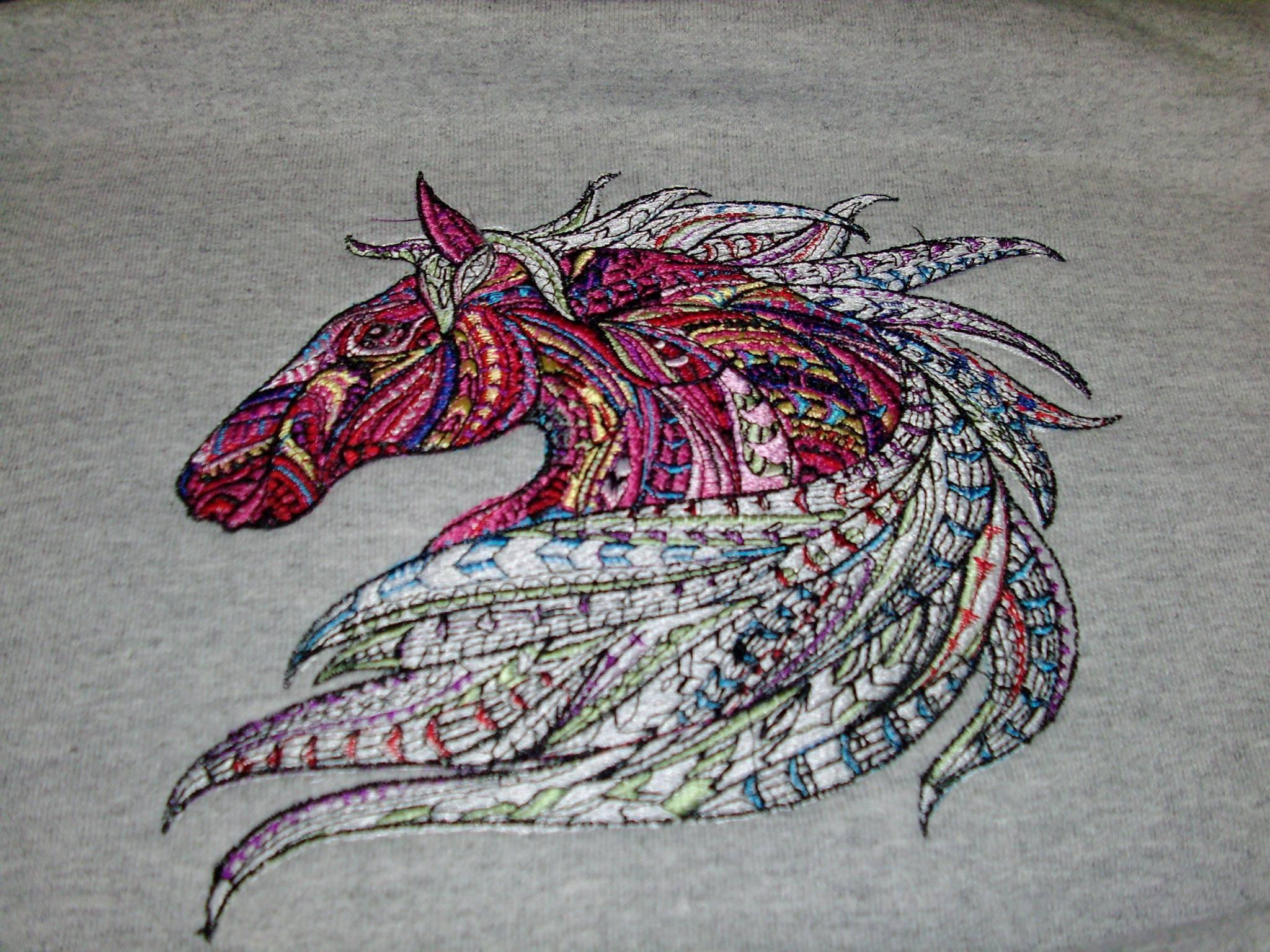 Etnic horse embroidery design