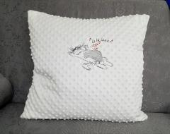 Embroidered cushion with Cat and mouse free design