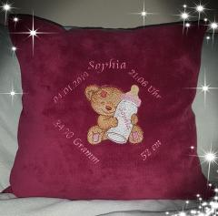Embroidered cushion with Little bear and bottle design