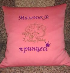 Embroidered cushion with Loving Teddy free design