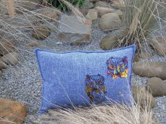 Embroidered cushion with Owls design