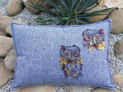 Embroidered cushion with Owls designs