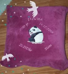Embroidered cushion with Panda design