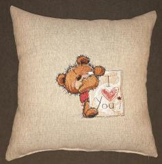 Embroidered cushion with Teddy I love you design