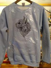 Embroidered sweater with Mosaic cat design
