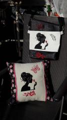 Embroidered things with Lady and rose design