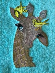 Giraffe with birds embroidery design