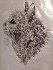 Mosaic cat embroidery design