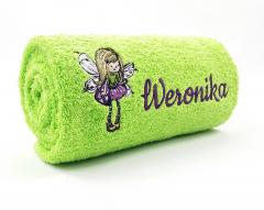Embroidered towel with fairy design