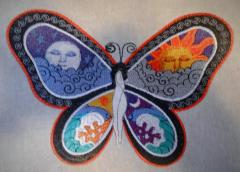 Fantastic butterfly day and night embroidered design