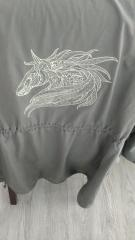 Woman's jacket with mosaic horse embroidery design