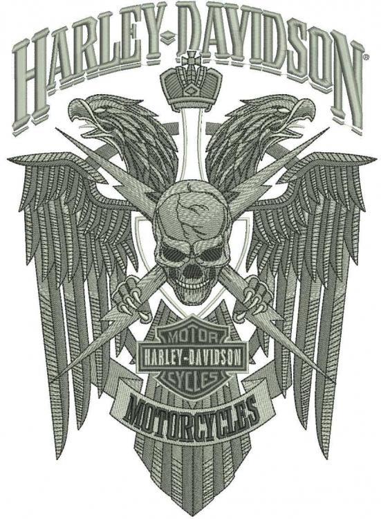 Harley Davidson Skull modern logo machine embroidery design
