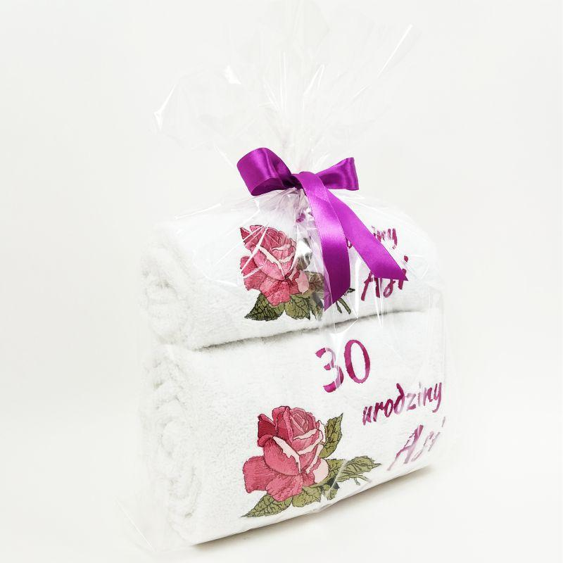 Embroidered set of towels with Roses design