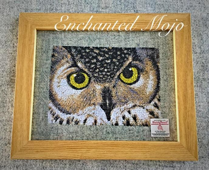 Framed Owl's look free embroidery design