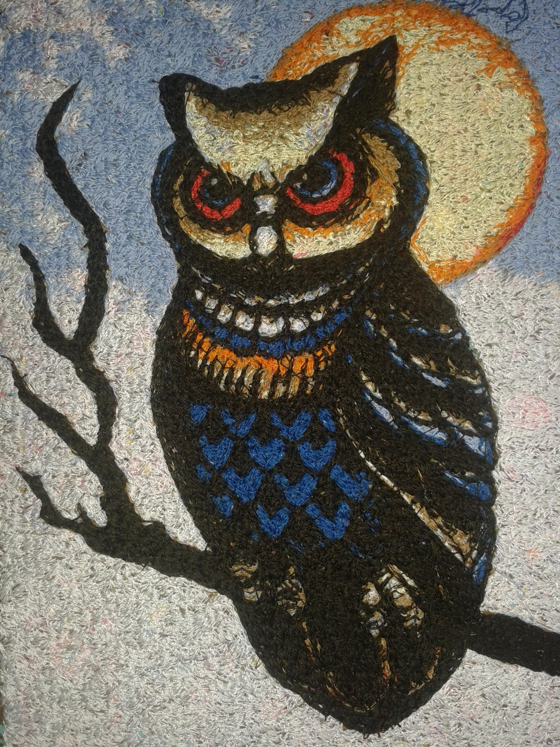 Owl and the moon embroidery design