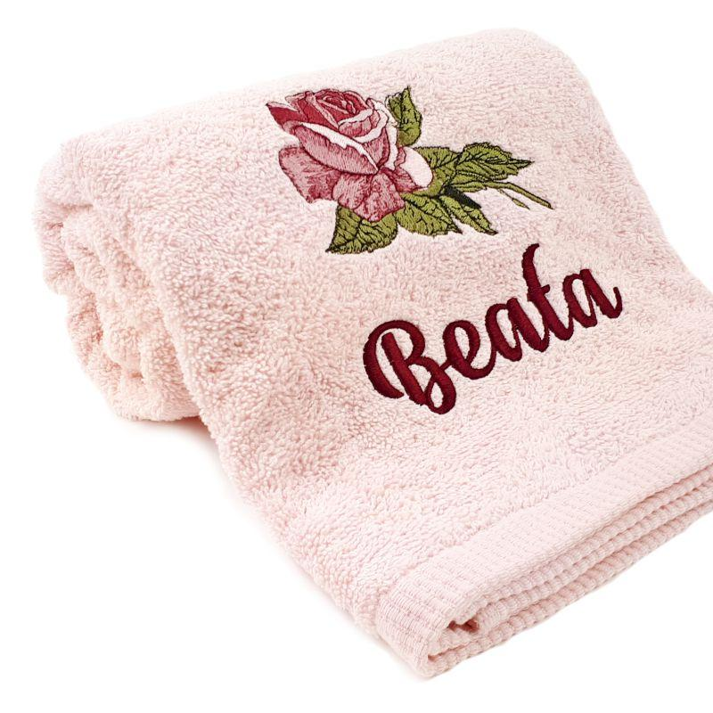 Embroidered towel with Roses design