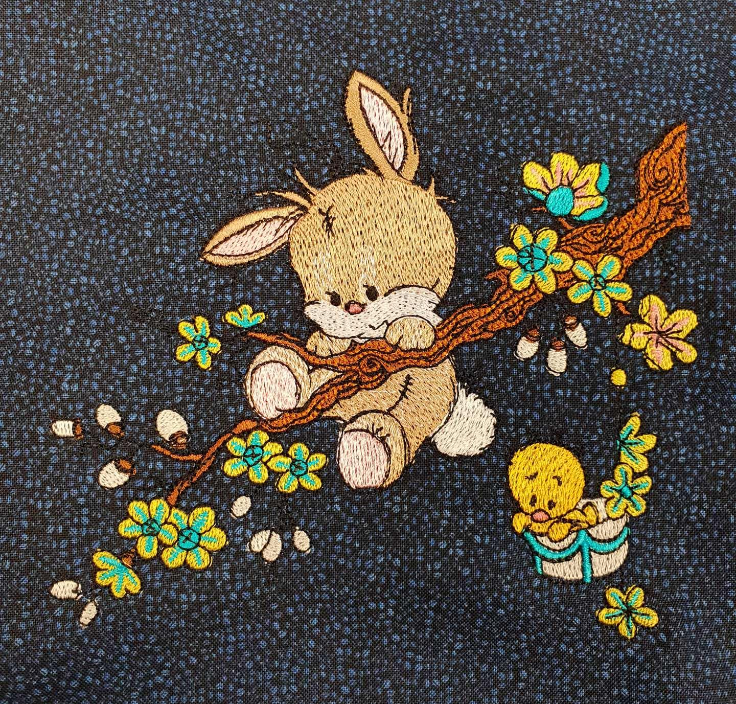 Bunny on branch embroidery design