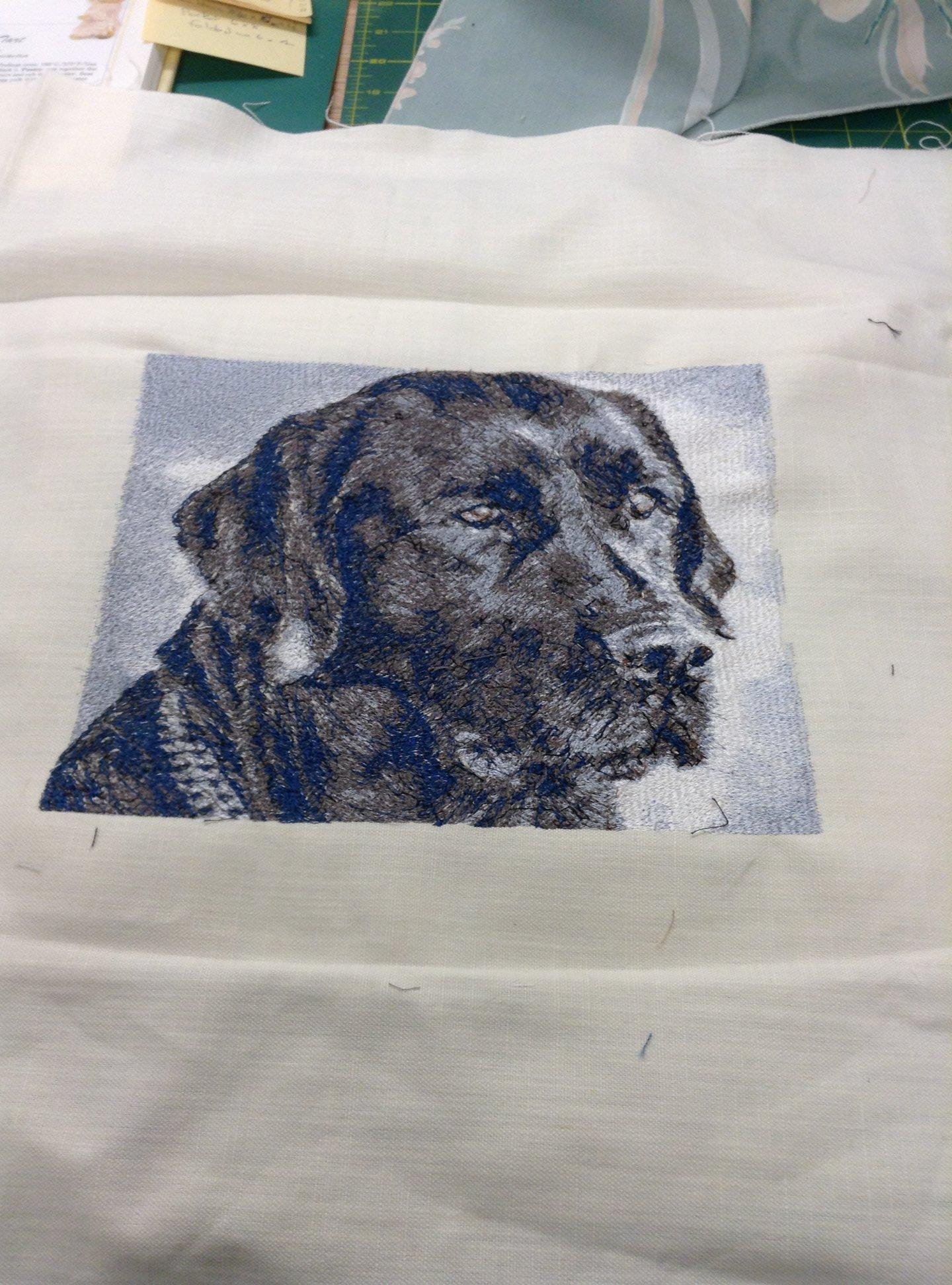 Fabirc with Dog photo stitch free embroidery design