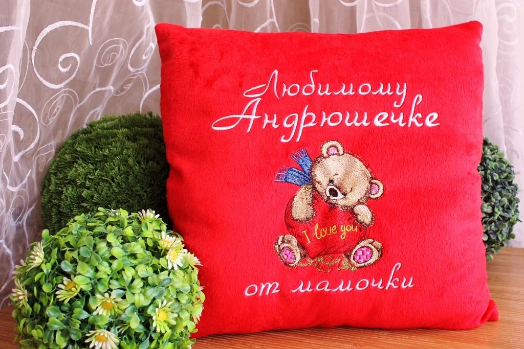 Embroidered cushion with Pretty bear design