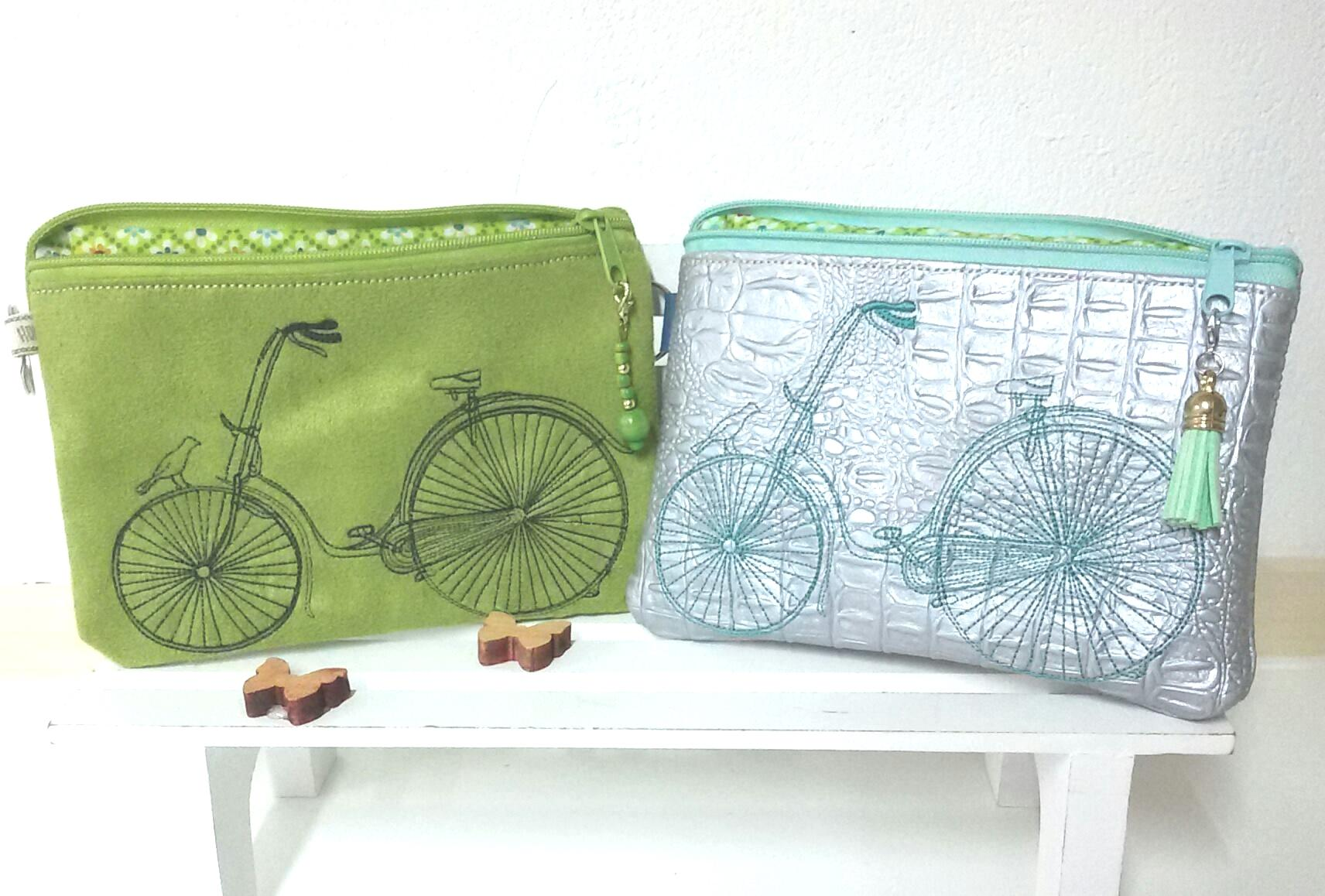 Embroidered handbags with Bikes design