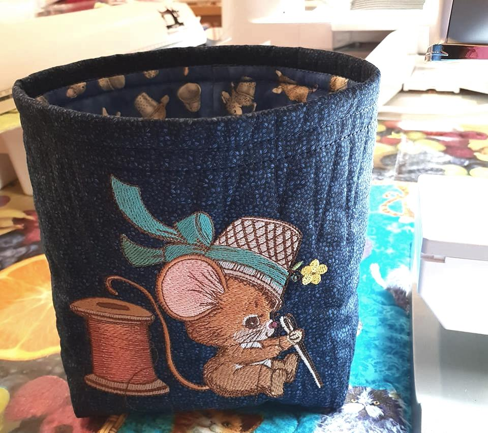 Embroidered textile Basket with Mouse design