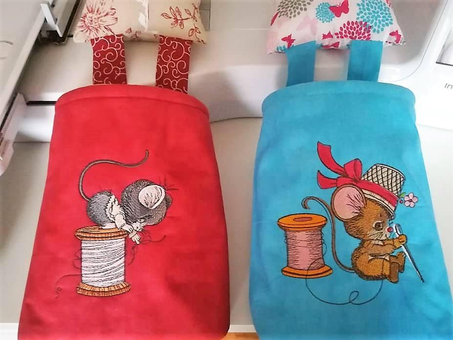 Embroidered textile baskets with Mice designs