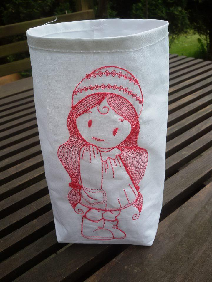 Embroidered textile box with Girl free design