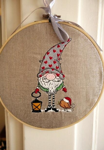 Embroidered decor with Gnome design