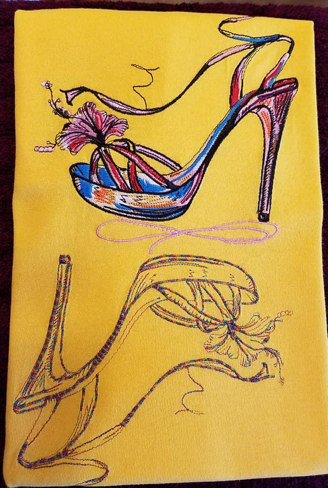 High heels shoes embroidery design