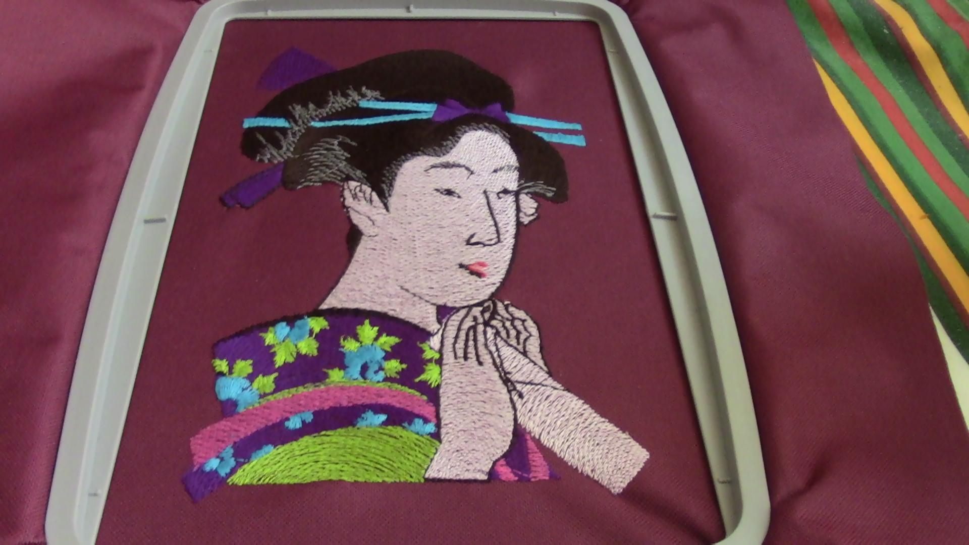 In hoop geisha free machine embroidery design