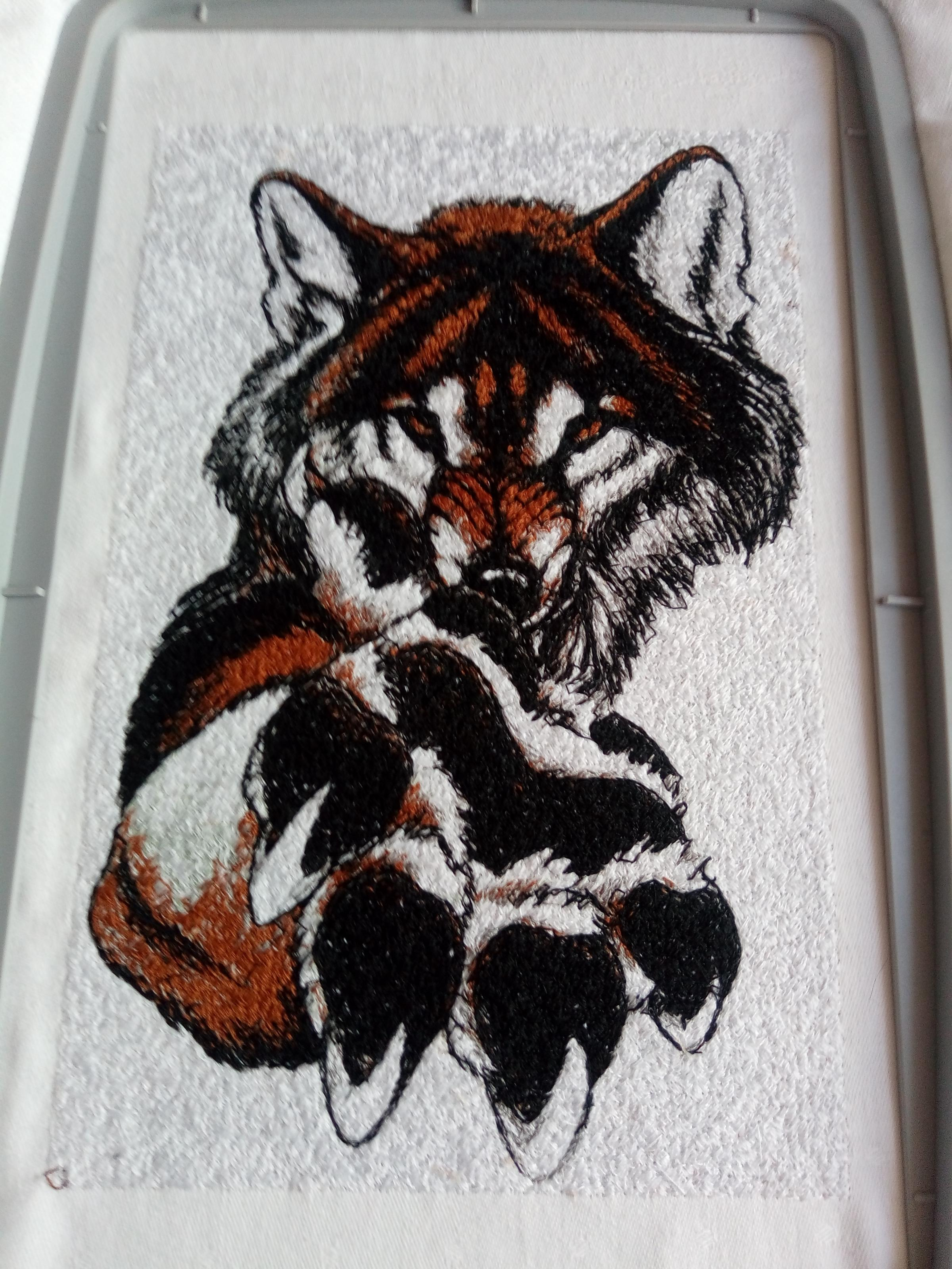 Portrait of wolf embroidery design