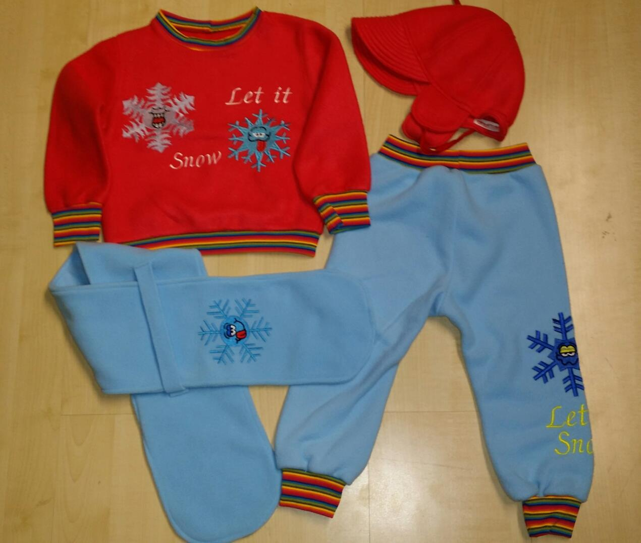 Winter warm clothes with Snowflake embroidery design