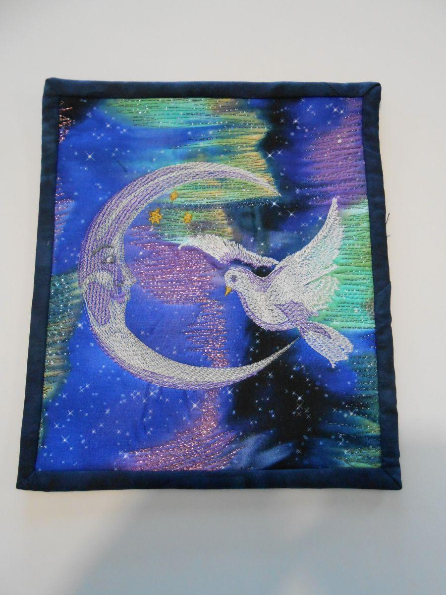 Raffle Art Quilt with Moon and dove free embroidery design