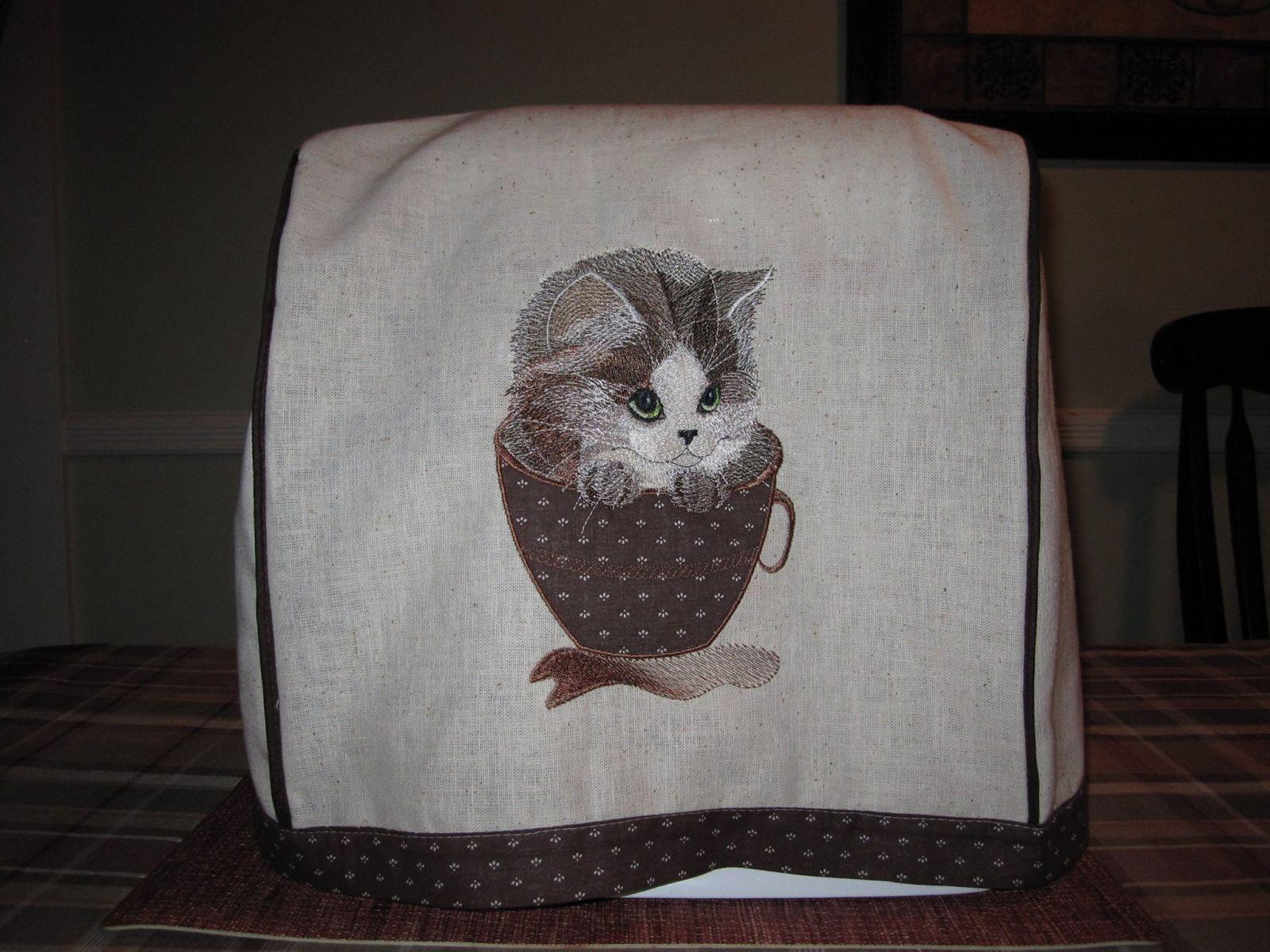 Embroidered Kitchen Cover With Cat Applique Embroidery Design